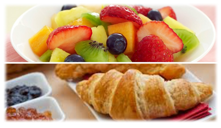 B&B Continental Breakfast of croissants and fruit salad