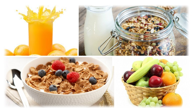 A selection of cereals and fresh fruit